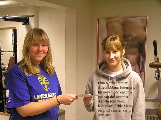 Lisa Nordin vann månadslotteriet november 2008