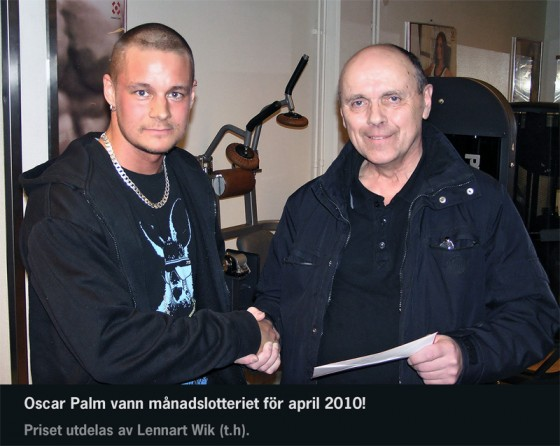 Oscar Palm vann månadslotteriet april 2010