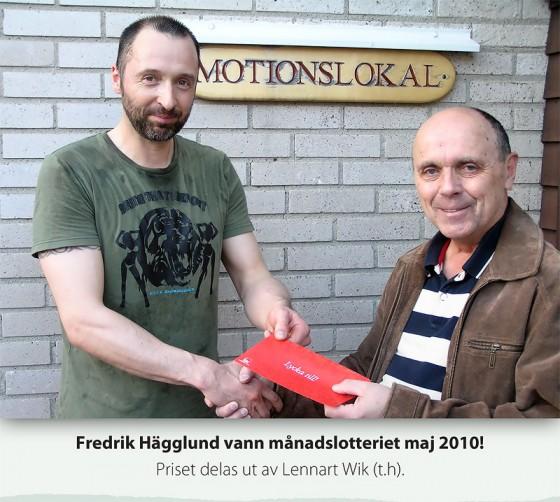 Fredrik Hägglund vann månadslotteriet Maj 2010
