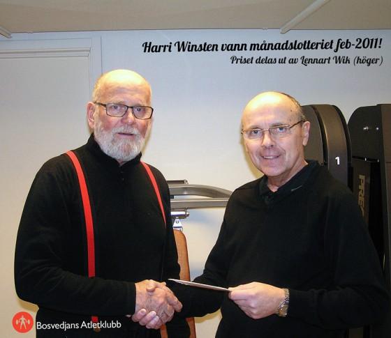Harri Winsten vann månadslotteriet februari 2011